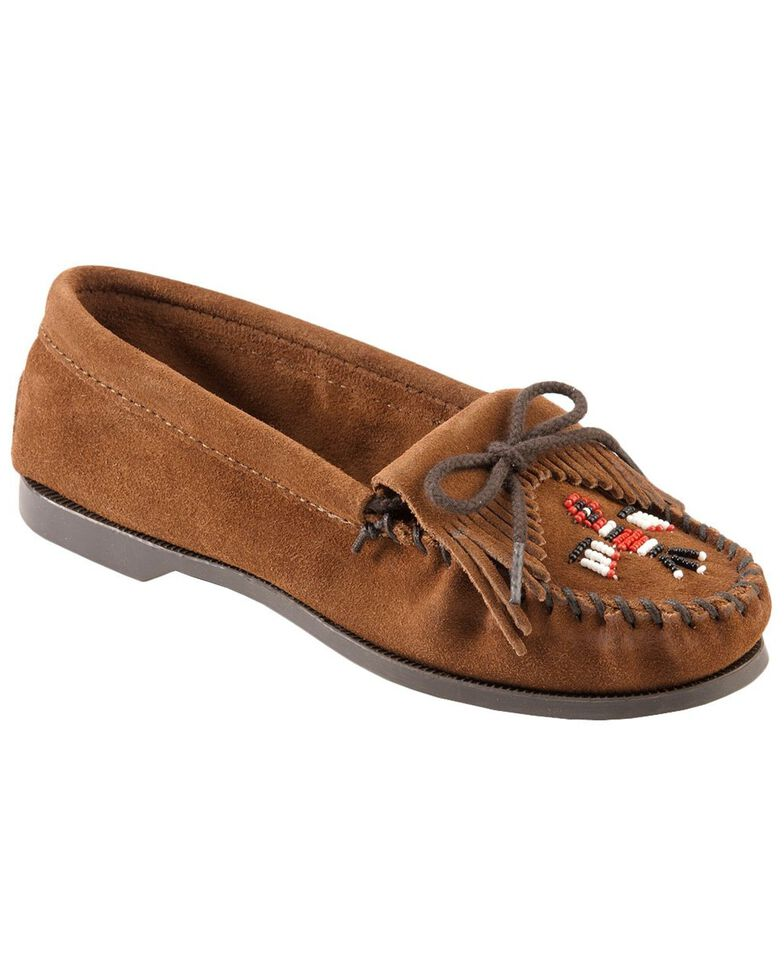Minnetonka Suede Thunderbird Moccasins - Boat Sole, Brown, hi-res