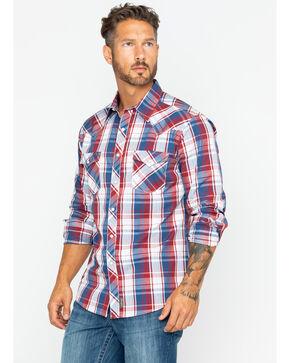 Wrangler Men's Retro Premium Plaid Long Sleeve Western Shirt , Blue/red, hi-res