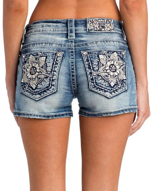 Miss Me Women's Floral Embroidered Pocket Shorts, Indigo, hi-res