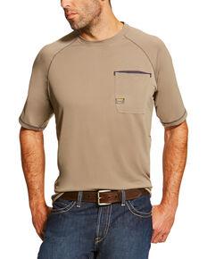 Ariat Men's Khaki Rebar Sunstopper Short Sleeve Pocket Tee - Tall, Beige/khaki, hi-res