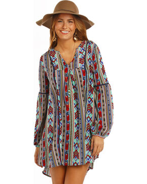 Rock & Roll Cowgirl Women's Blue Aztec Print Dress , Royal Blue, hi-res