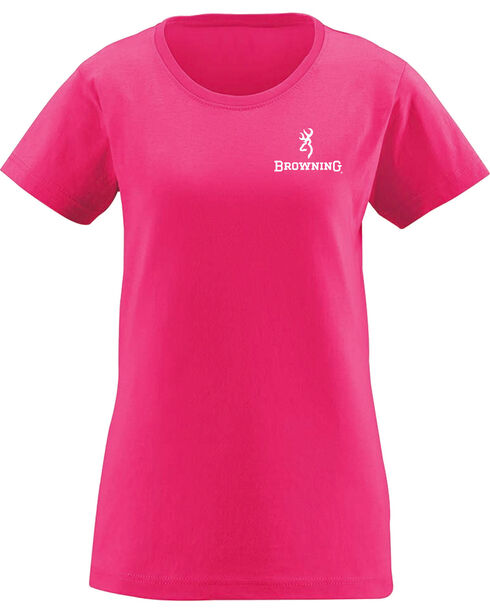 Browning Women's Pink Gold Foil Rifle Flag Tee , Hot Pink, hi-res