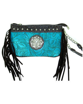 Savana Women's Tooled Crossbody/Wristlet with Fringe, Turquoise, hi-res