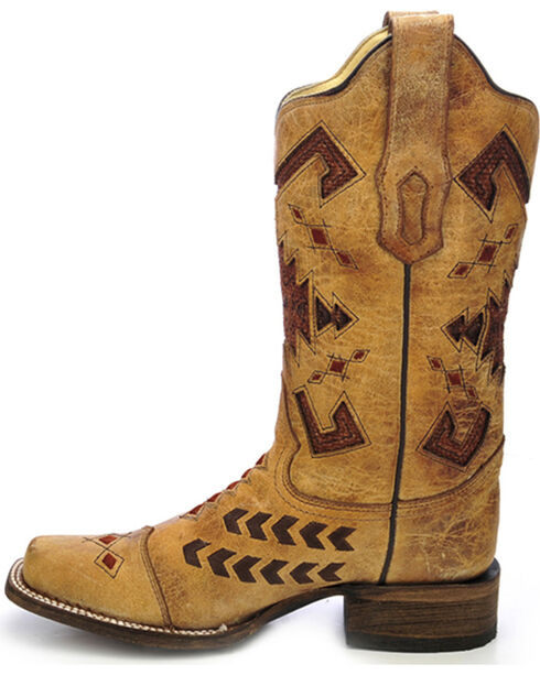 Corral Women's Jute Inlay Cowgirl Boots - Square Toe, Antique Saddle, hi-res