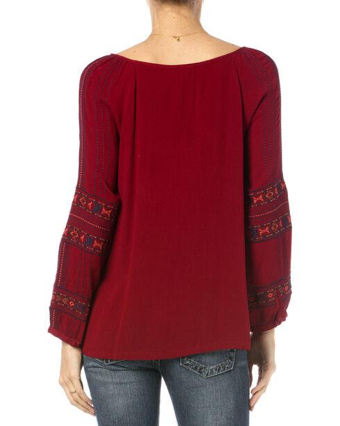 Miss Me Burgundy Embroidered Long Sleeve Peasant Top, Burgundy, hi-res