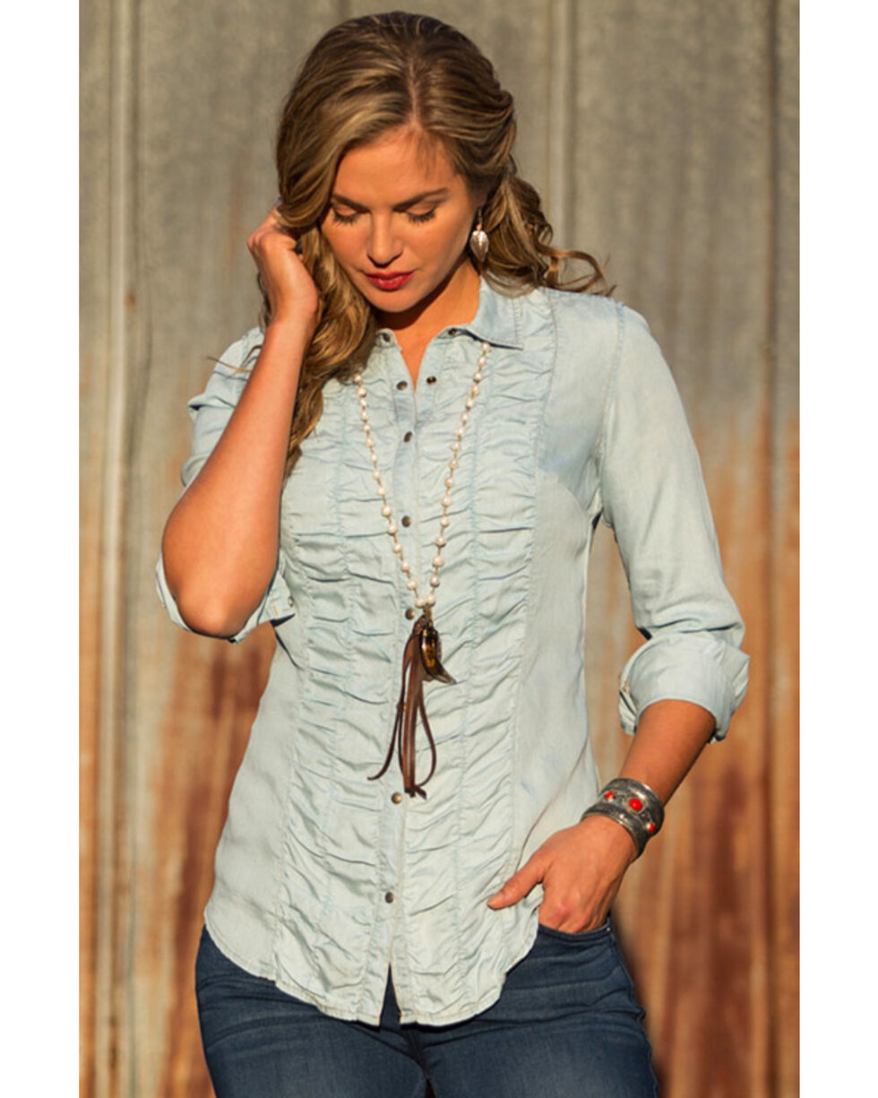 Ryan Michael Women's Ruched Front Shirt , Indigo, hi-res