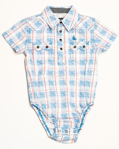 b2df461fb Cody James Infant Boys Crooks Cross Plaid Short Sleeve Onesie, White, hi-res