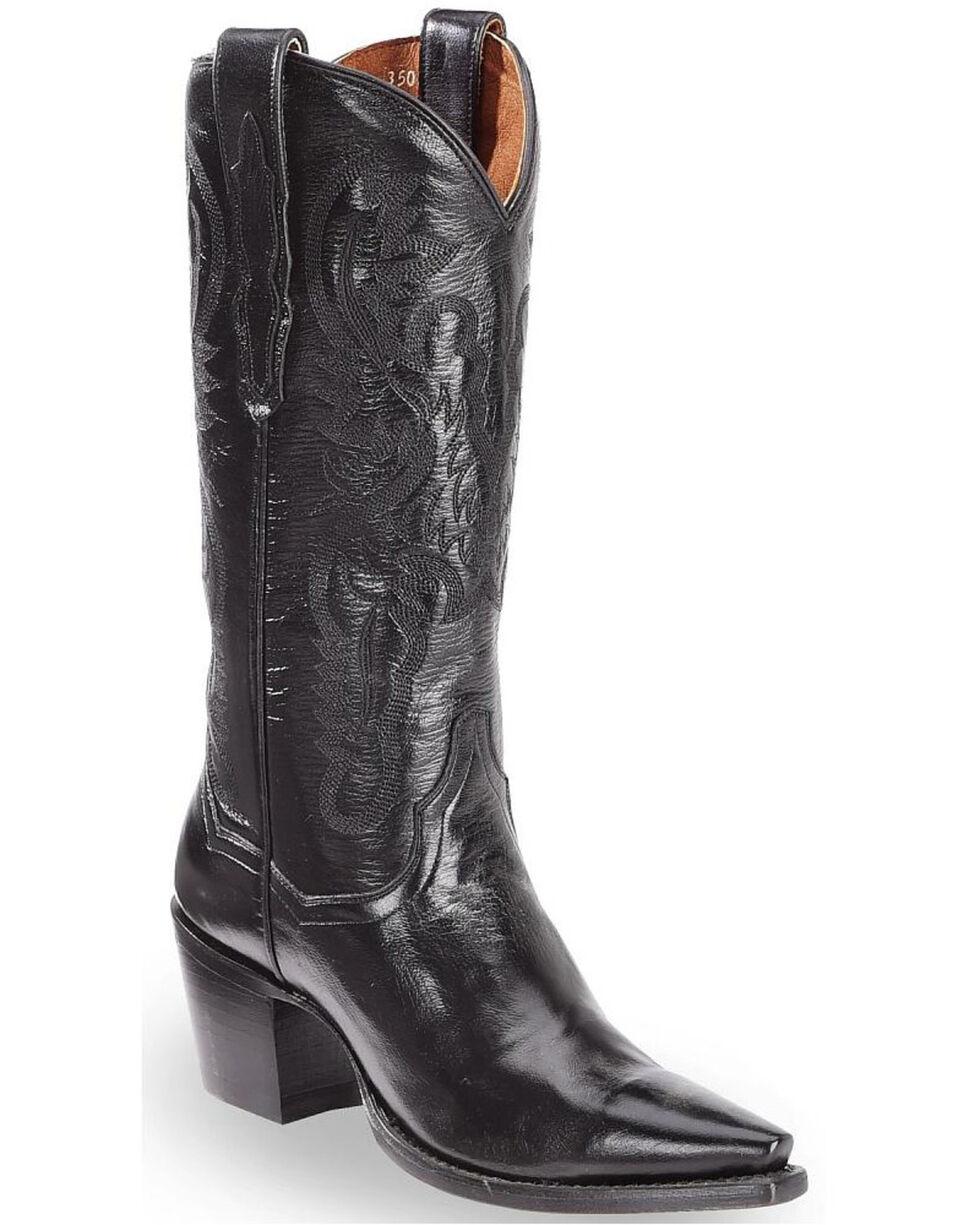 Dan Post Polished Western Boots - Snip Toe, Black, hi-res