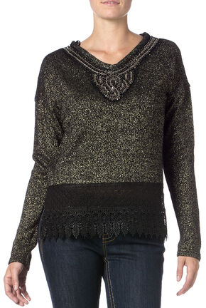 Miss Me Women's Lace Border Knit Top , Black, hi-res