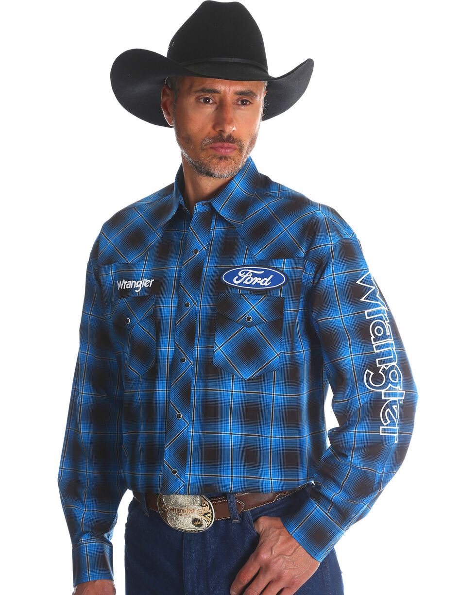 Wrangler Men's Ford Plaid Western Logo Shirt - Tall, Blue, hi-res