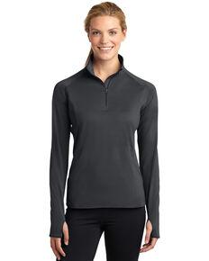 Sport-Tek Women's Charcoal 3X Sport-Wick Stretch 1/2 Zip Pullover - Plus, Charcoal, hi-res