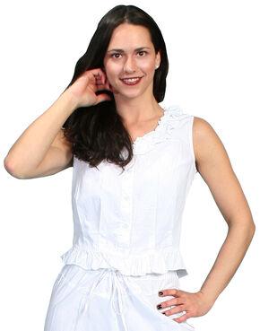 Rangewear by Scully Ruffled Sleeveless Top, White, hi-res