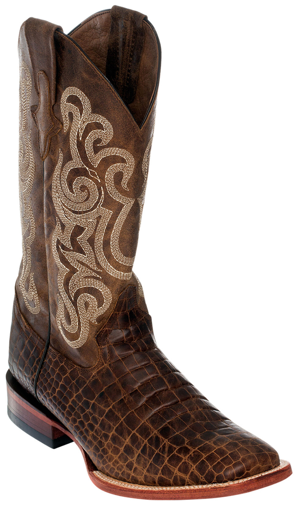 Ferrini Men's Brown Caiman Belly Print Western Boots - Square Toe , Brown, hi-res