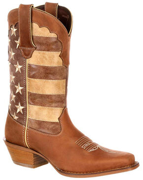 Durango Women's Distressed Flag Western Boots - Square Toe , Brown, hi-res