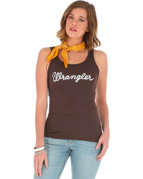 Wrangler Women's Brown Logo Tank Top , Brown, hi-res