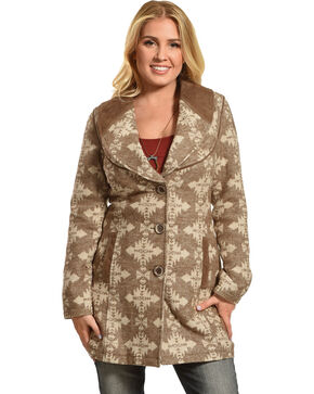 Powder River Outfitters Women's Brown Aztec Wool Coat , Brown, hi-res