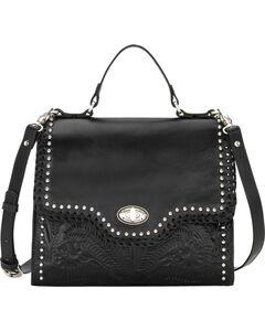 American West Women's Black Hidalgo Top Handle Convertible Flap Bag , Black, hi-res