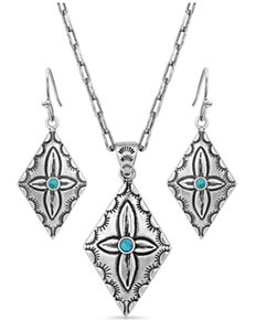 Montana Silversmiths Women's Primally Etched Turquoise Buffed Jewelry Set, Silver, hi-res