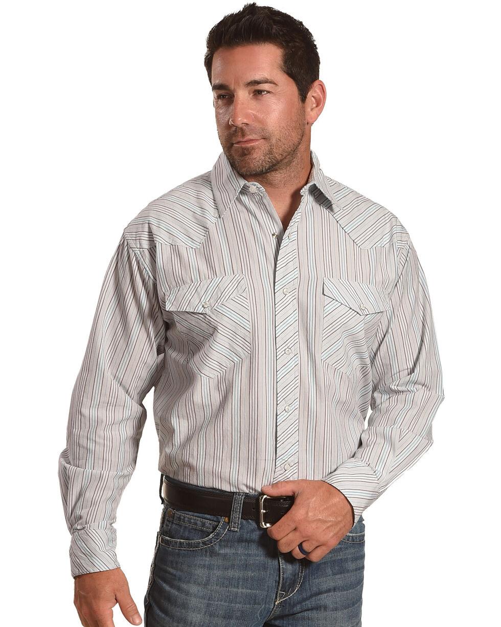 Resistol Double R Men's Henderson Long Sleeve Snap Shirt, Blue, hi-res