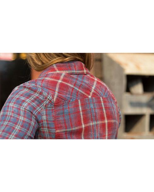 Ryan Michael Women's Double Face Plaid Shirt , Indigo, hi-res