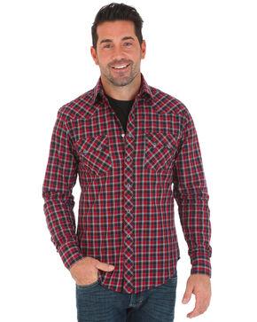 Wrangler Retro Men's Small Plaid Long Sleeve Western Shirt, Black/red, hi-res