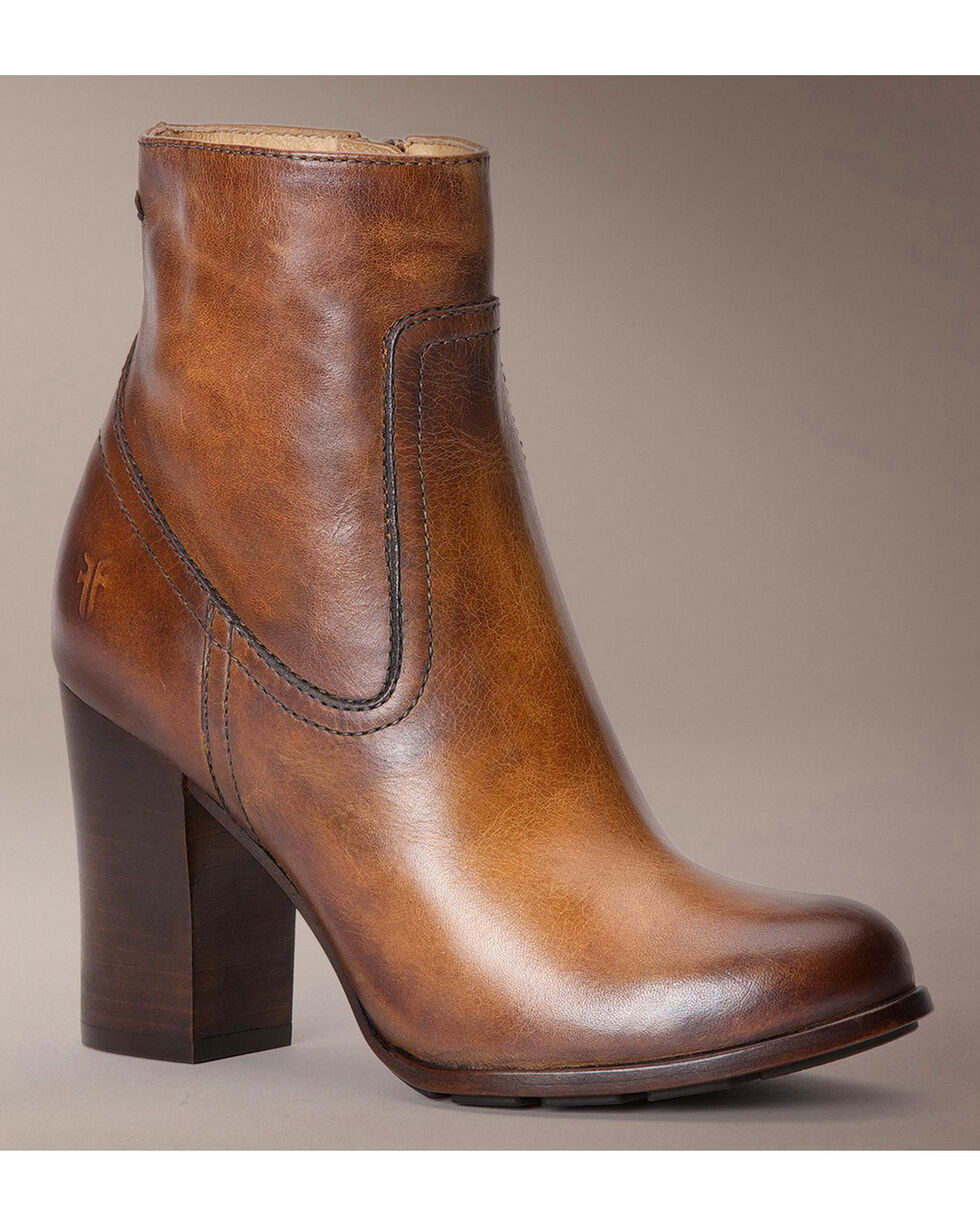 Frye Parker Stacked Booties - Round Toe, Tan, hi-res