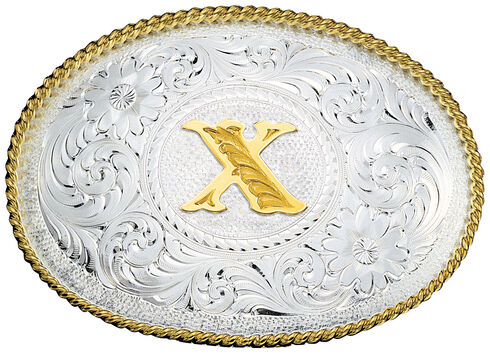Montana Silversmiths Engraved Initial X Western Belt Buckle, Multi, hi-res