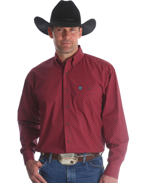 Wrangler Men's Red George Strait Button Down Shirt , Red, hi-res