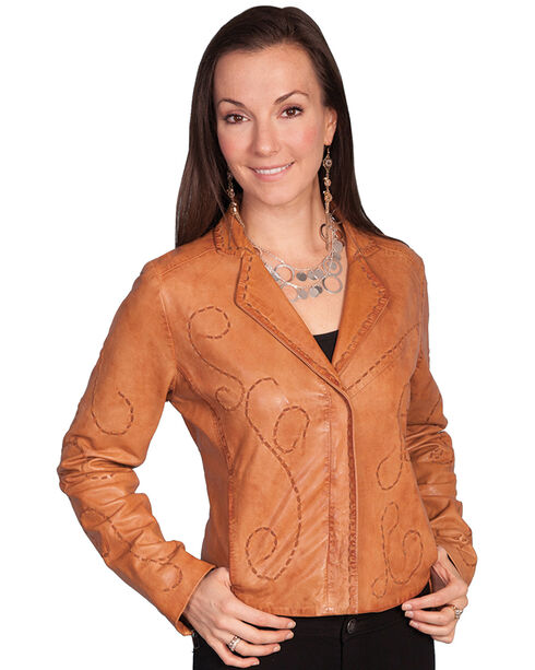 Scully Whip Stitch Lamb Jacket, Cognac, hi-res