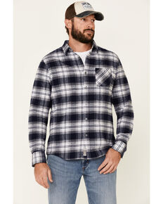 Flag & Anthem Men's Hanston Large Plaid Long Sleeve Western Flannel Shirt , Navy, hi-res