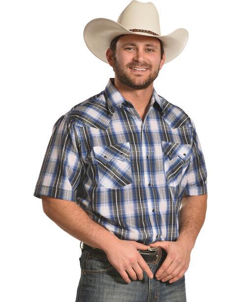 Ely Cattleman Men's Blue Short Sleeve Texture Plaid Shirt , Blue, hi-res