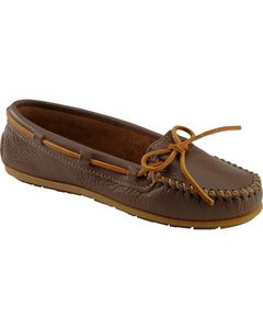 Women's Minnetonka Boat Moccasins, Chocolate, hi-res
