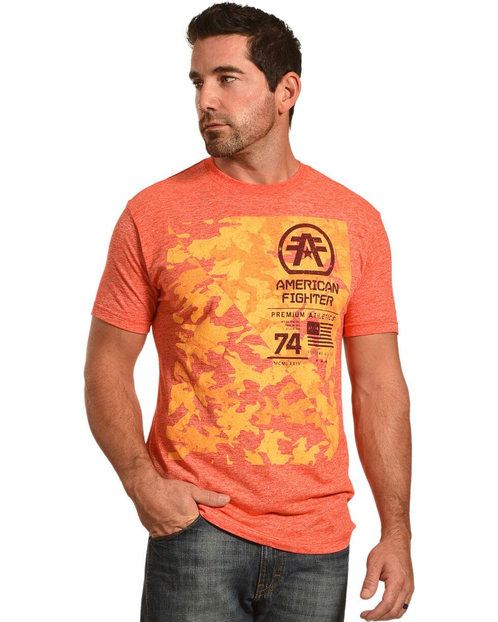 American Fighter Men's Orange Stacked Tee , Orange, hi-res