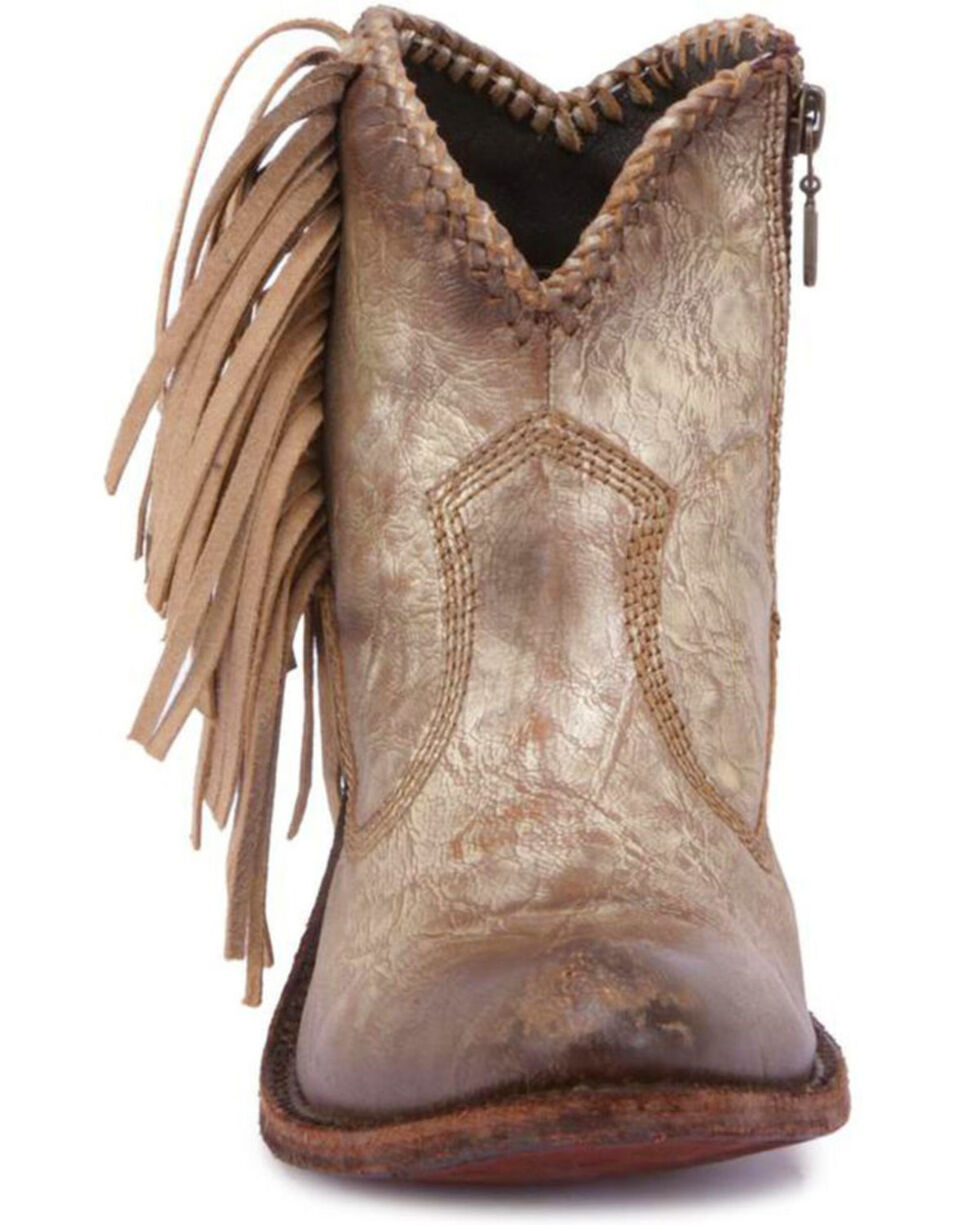 Liberty Black Women's Cabra Buffed Metal Fringe Boots - Round Toe , Grey, hi-res
