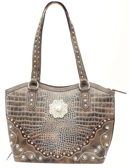 Blazin Roxx Croc Print Concealed Carry Bucket Bag, Blue, hi-res