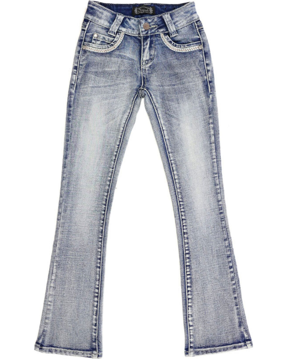 Shyanne Girls' Light Wash Aztec Scroll Jeans - Boot Cut, Blue, hi-res