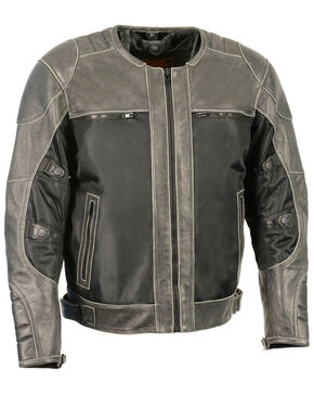 Milwaukee Leather Men's Distressed Grey Leather & Mesh Racer Jacket with Removable Rain Jacket Liner, Dark Grey, hi-res