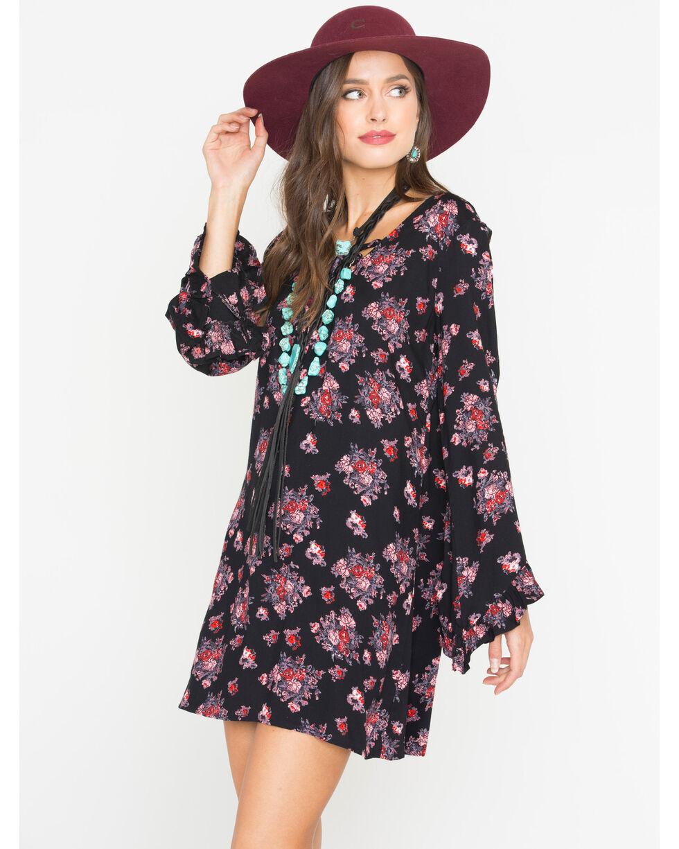 Rock & Roll Cowgirl Women's Black Floral A-Line Dress , Black, hi-res