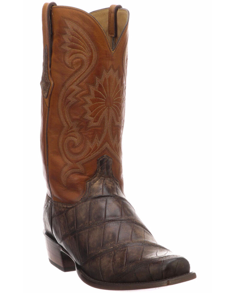 8c652b350c9 Lucchese Men's Rio Chocolate/Cognac Giant Gator Western Boots - Snip Toe