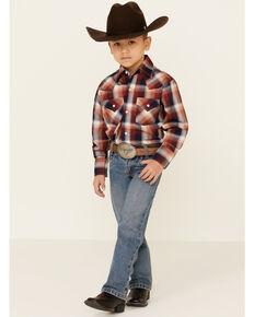 Ely Walker Boys' Rust Plaid Long Sleeve Western Shirt , Rust Copper, hi-res
