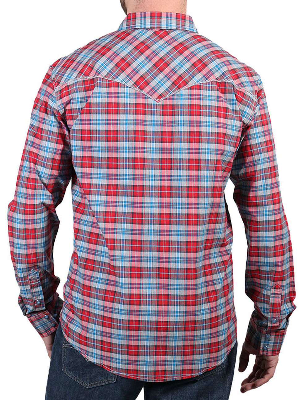 Cody James Men's Dodge City Plaid Long Sleeve Shirt, Red, hi-res