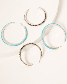 Idyllwind Women's The Perfect Pair Hoop Set, Silver, hi-res