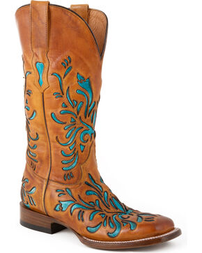 Stetson Talon Turquoise Underlay Cowgirl Boots - Square Toe, Brown, hi-res
