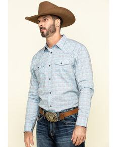 Cody James Men's Trucker Small Plaid Long Sleeve Western Shirt , Light Blue, hi-res