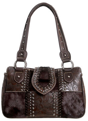 Montana West Trinity Ranch Concealed Handgun Collection Handbag with Tooling and Cowhide, Dark Brown, hi-res