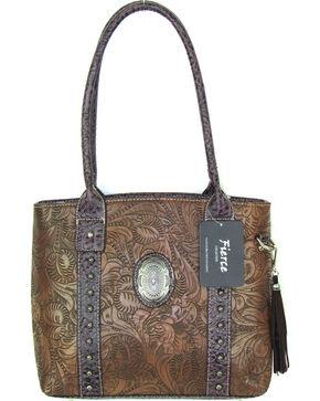 Savana Women's Fierce Tooled Professional Carry Handbag , Brown, hi-res