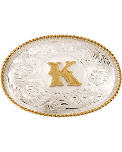 """Montana Silversmiths Initial """"K"""" Buckle, Silver, hi-res"""