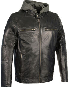 Milwaukee Leather Men's Snap Collar Leather Moto Jacket w/ Removable Hood - Big - 4X, Black, hi-res