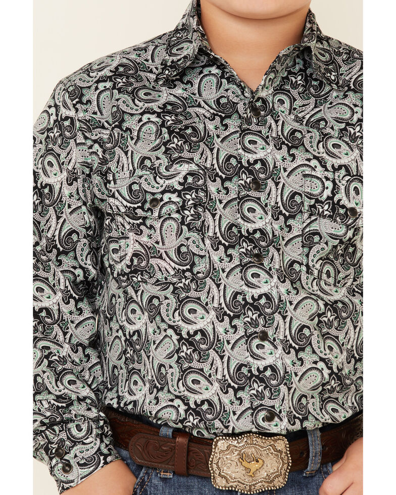 Cinch Boys' Black Paisley Print Long Sleeve Snap Western Shirt , Black, hi-res