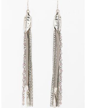 Shyanne Women's Feather Linear Chain Fringe Earrings, Silver, hi-res
